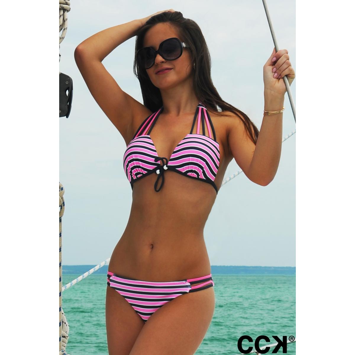 Szürke - rózsaszín - fehér csíkos sok pántos push up háromszög bikini
