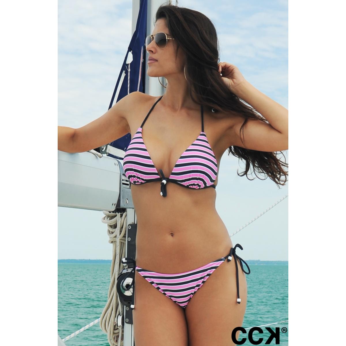 Szürke - rózsaszín - fehér csíkos vékony pántos push up háromszög bikini