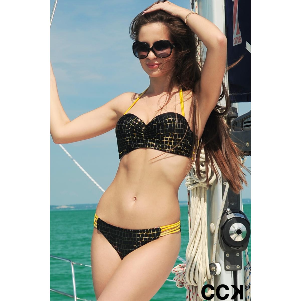 Fekete - arany sok pántos push up bandeau bikini