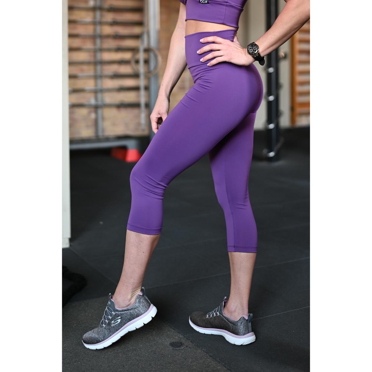 Padlizsán lila magasderekú női fitness sport caprinadrág