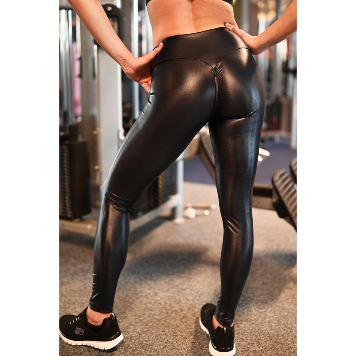 Fekete extra fényes húzott fenekű leggings