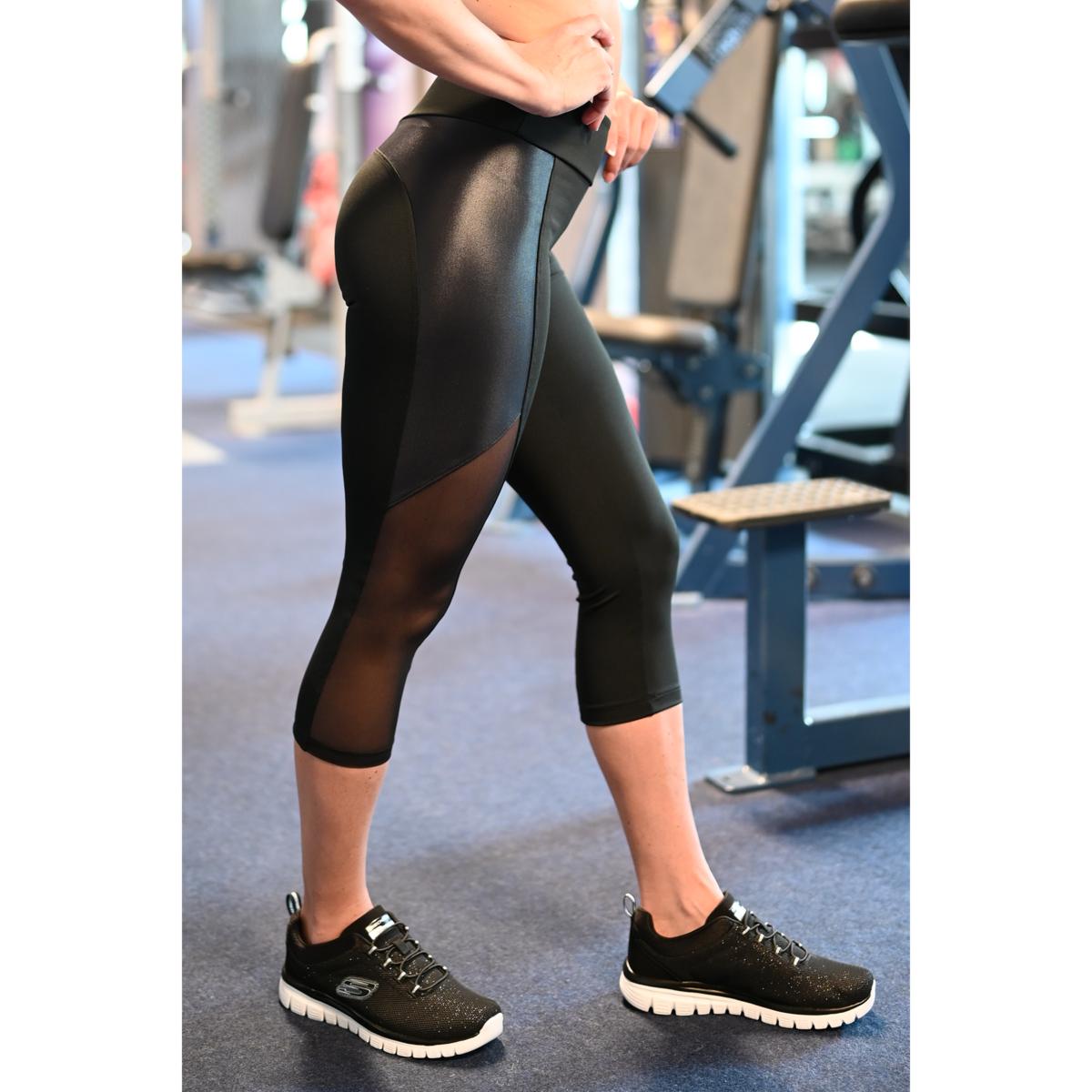 Fekete, fényes betétes tüll betétes női fitness capri - CCK - COCKTAIL SPORT