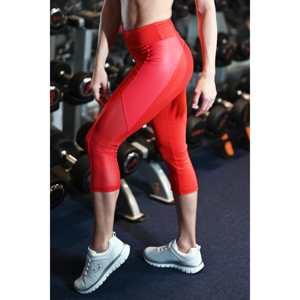Piros, fényes betétes tüll betétes női fitness capri - CCK - COCKTAIL SPORT