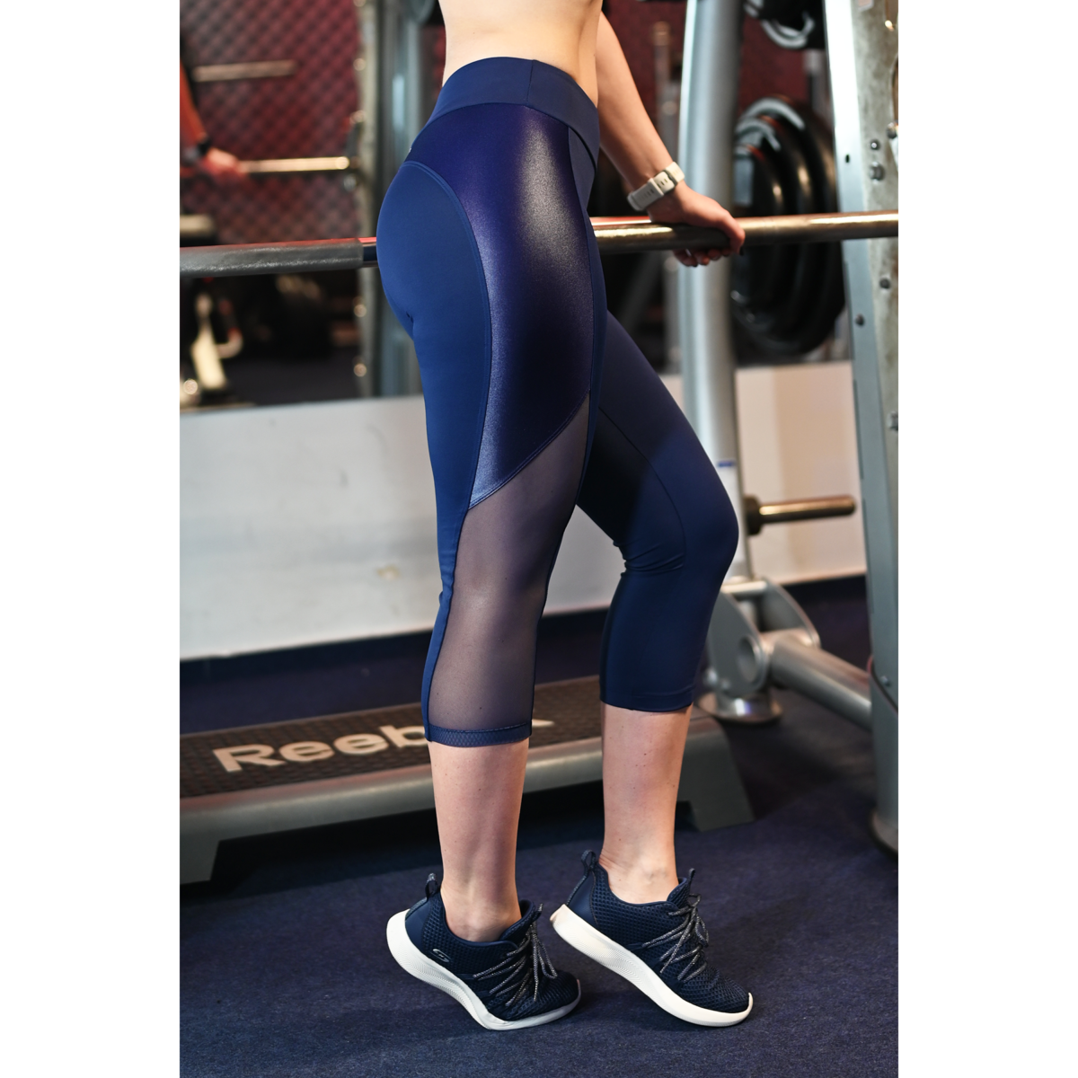 Sötétkék, fényes betétes tüll betétes női fitness capri - CCK - COCKTAIL SPORT