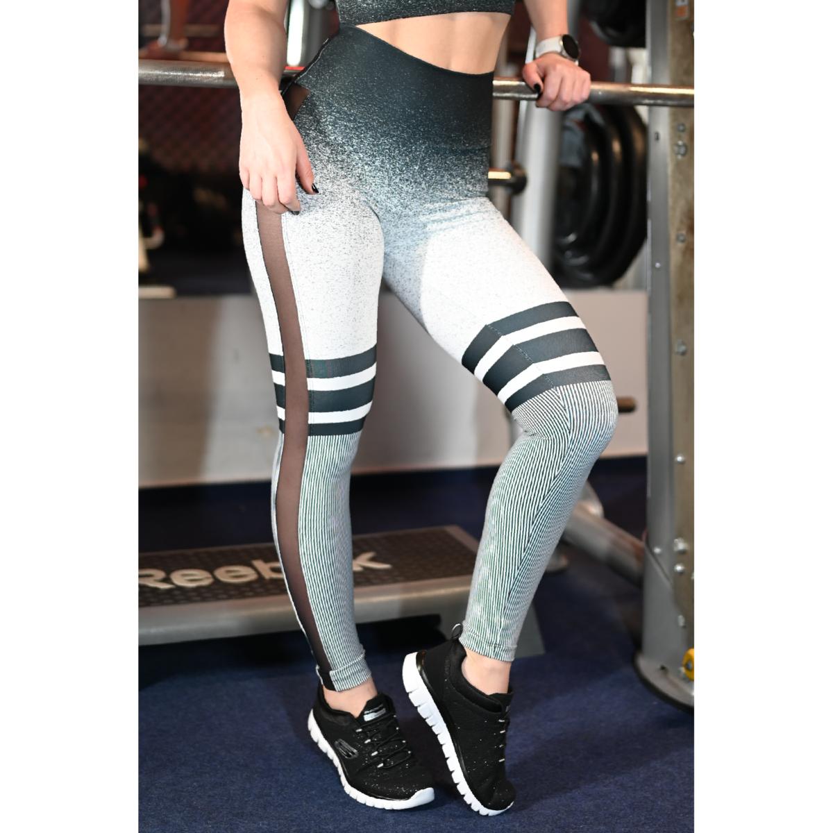 Melange fekete-fehér, tüll betétes női fitnesz boka nadrág