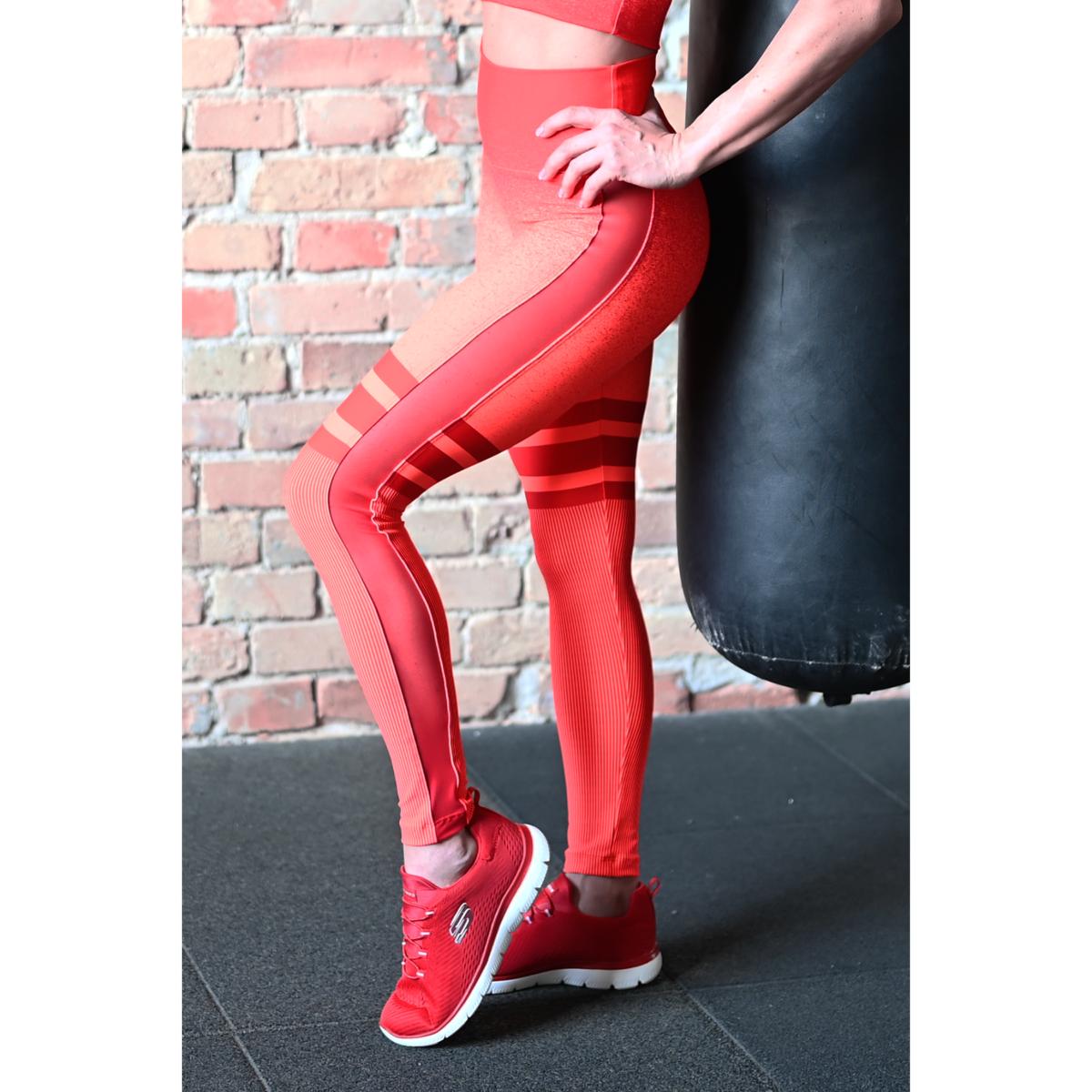 Melange korall-piros tüll betétes női fitnesz boka nadrág