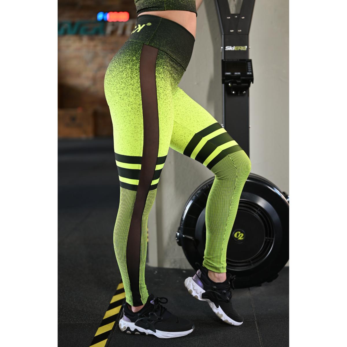 Melange neon sárga-fekete tüll betétes női fitnesz boka nadrág