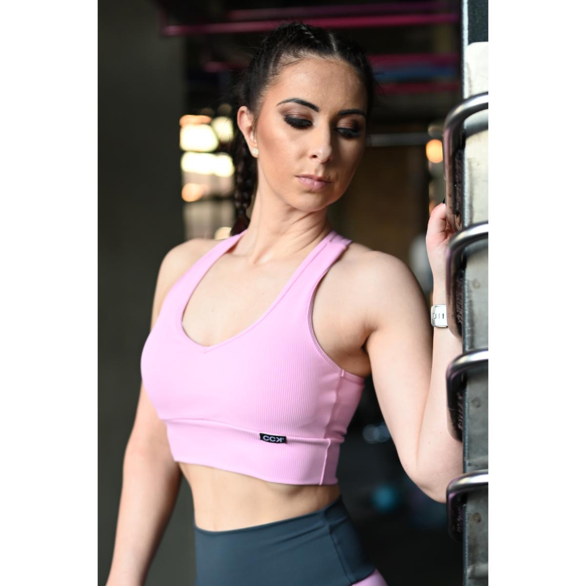Fitnesz crop trikó, bordás, rózsaszín