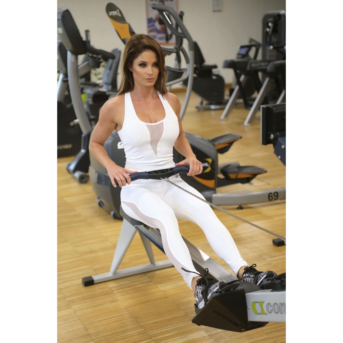 Női tüllbetétes láng fitness szett, fehér