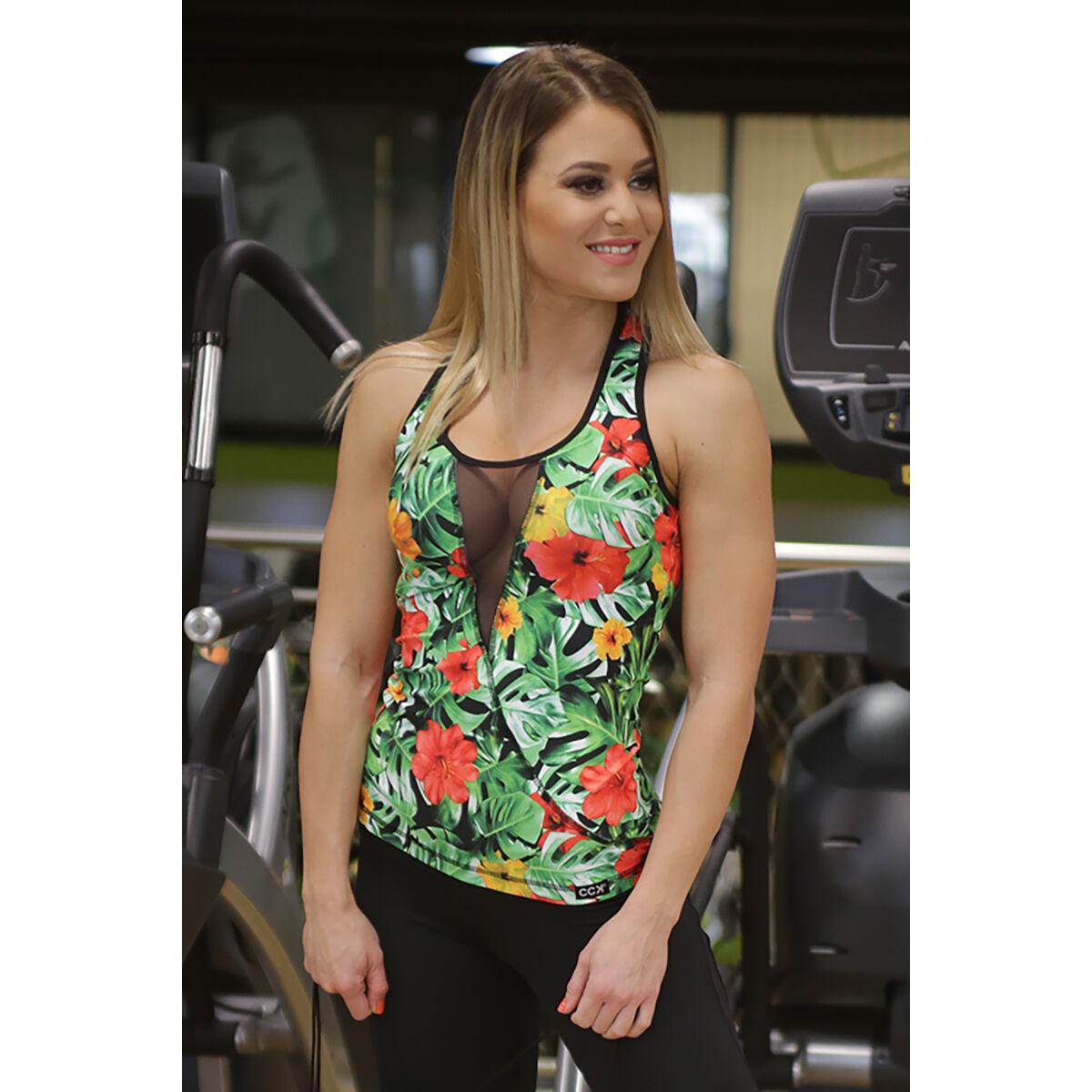 Dzsungelmintás női tüllbetétes láng fitness atléta, fekete