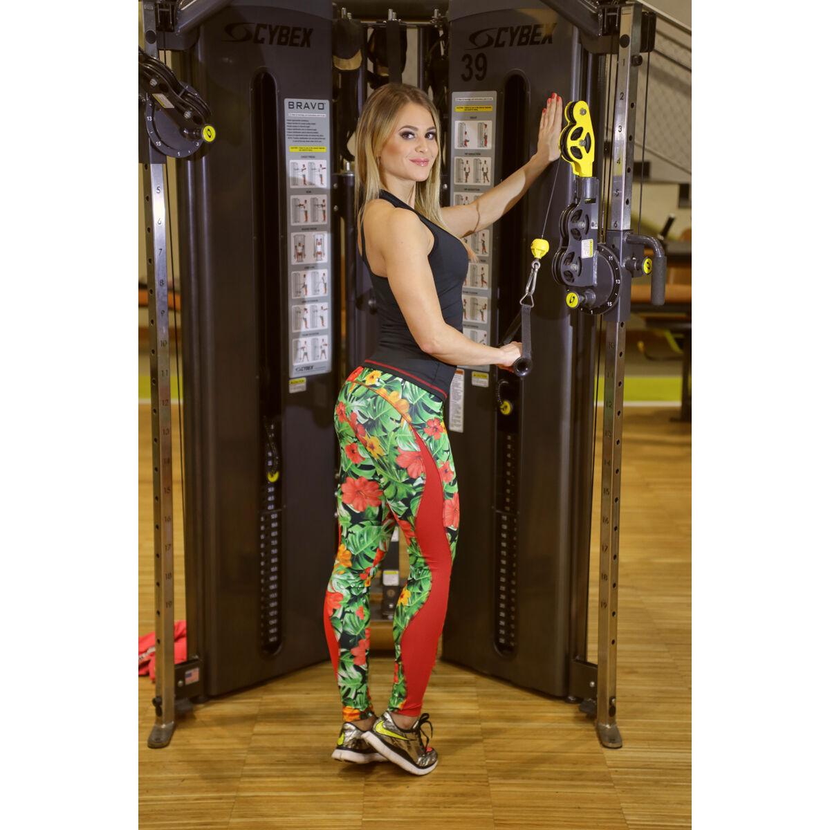 Női tüllbetétes láng fitness szett, dzsungel-piros