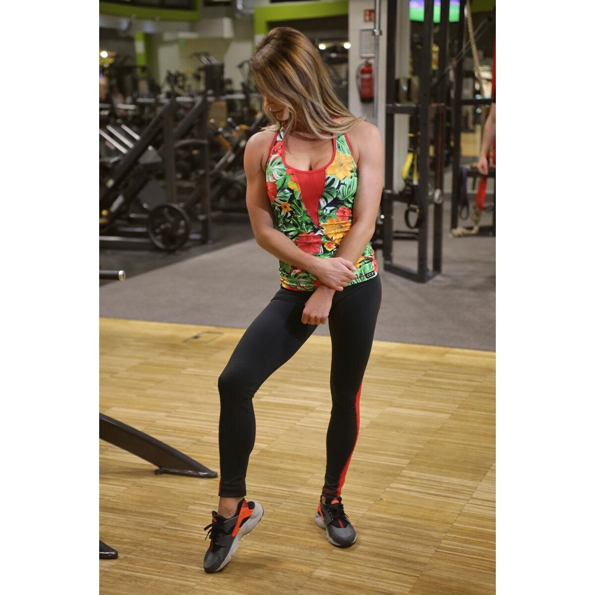 Női tüllbetétes láng fitness szett, dzsungel-fekete