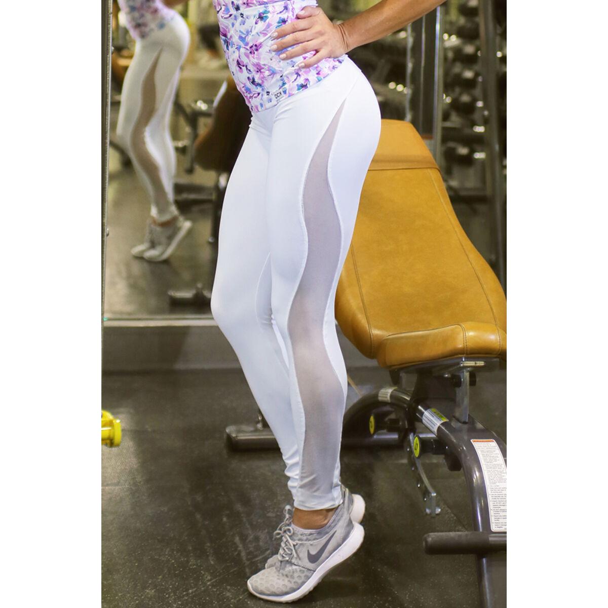 Női tüllbetétes láng fitness leggings, fehér