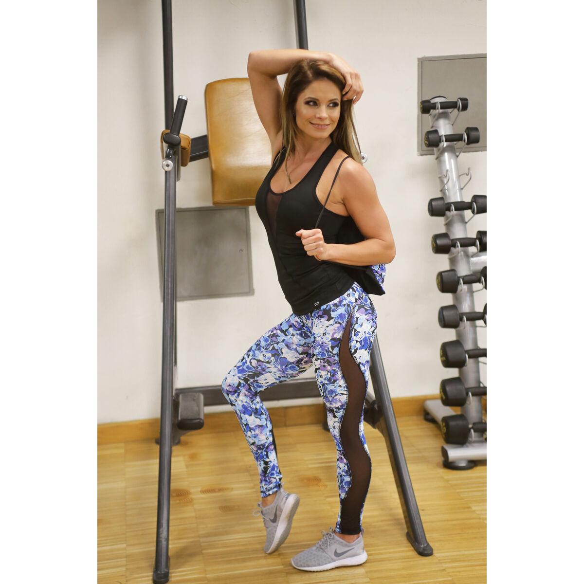 Flame kék virágos női fitness tüll leggings + fekete flame atléta szett