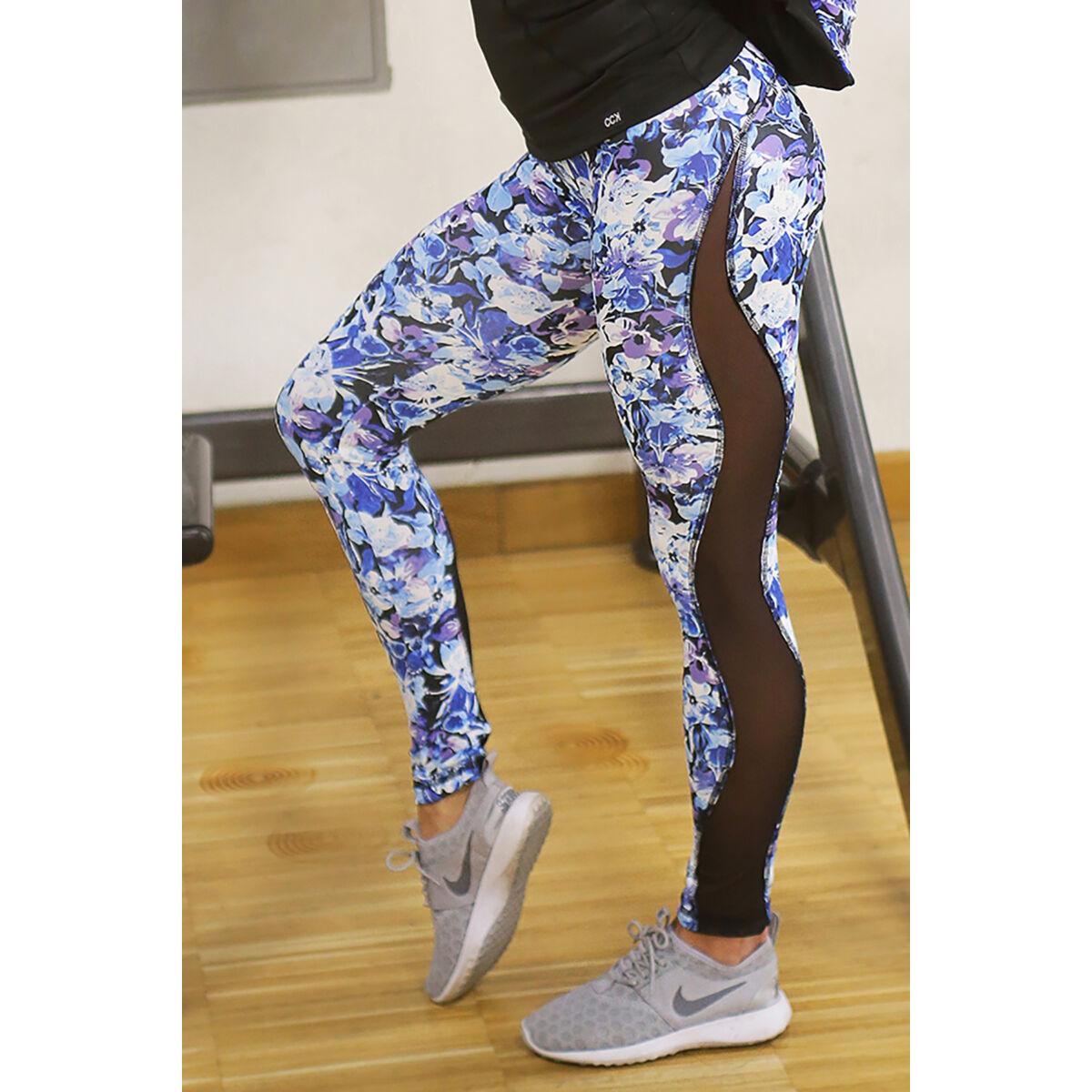 Kék virágmintás tüllbetétes női fitness leggings