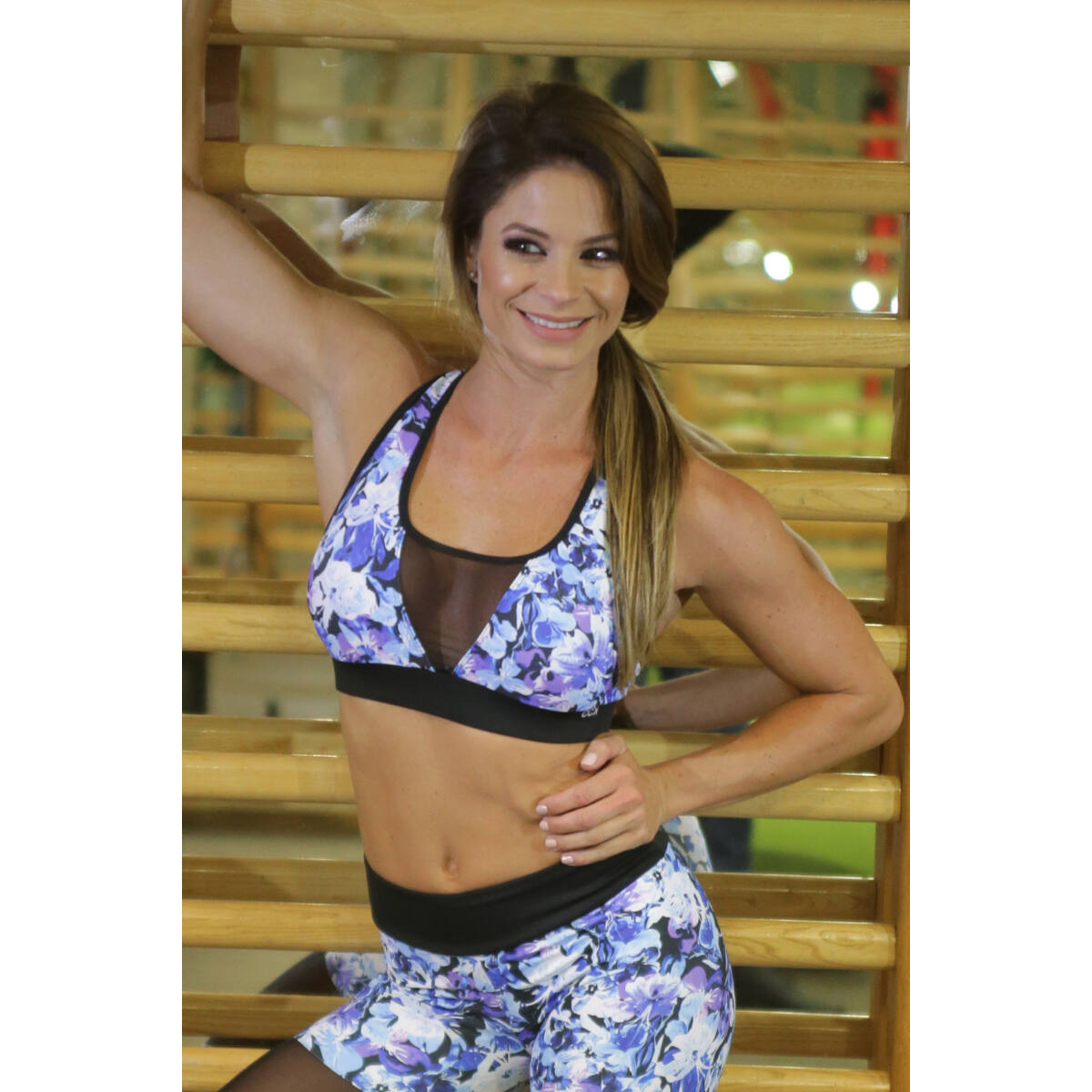 Kék virágos tüll betétes női fitness top - CCK - COCKTAIL SPORT