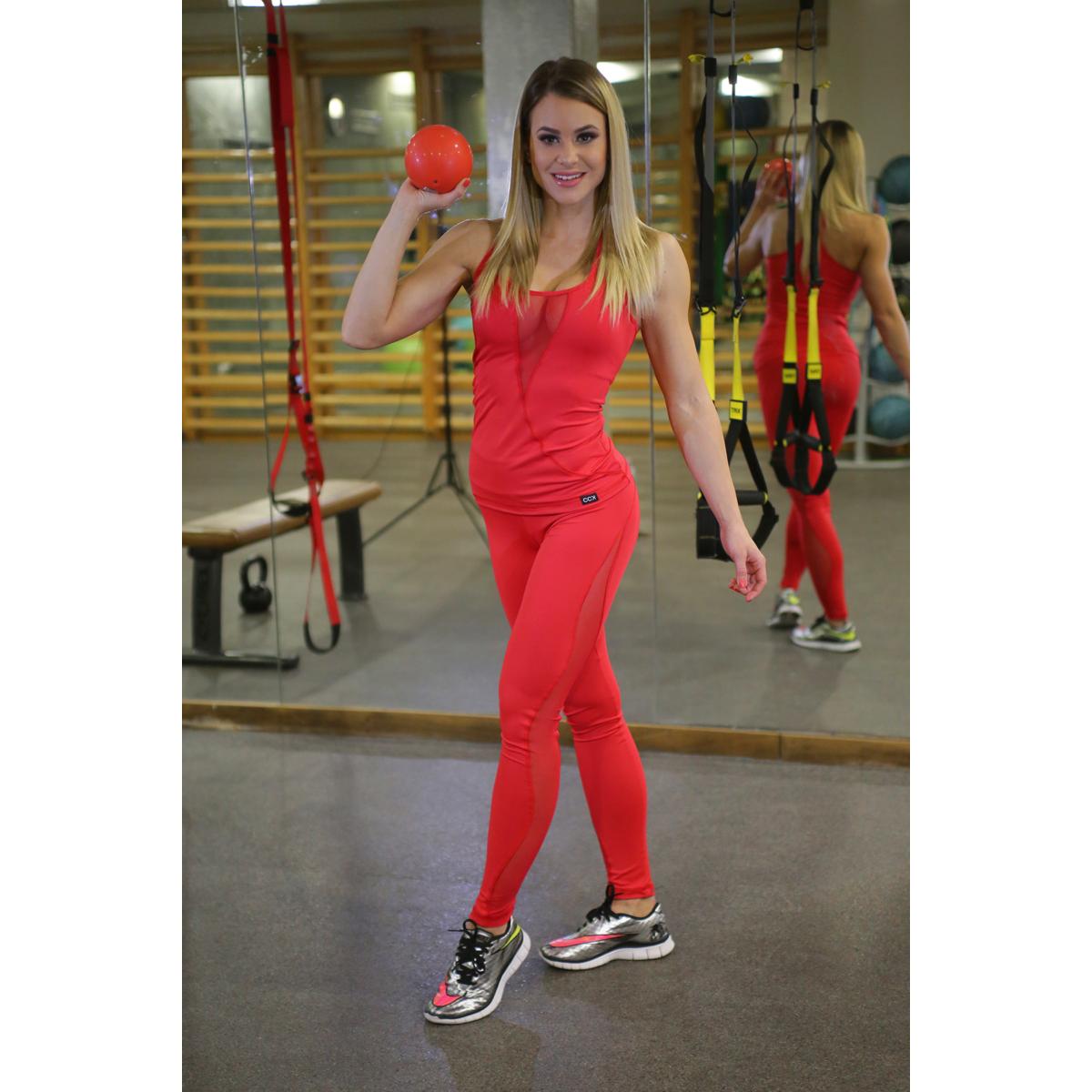 Flame női fitness tüll leggings + atléta szett, piros