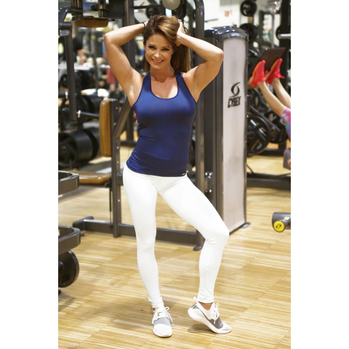 Fehér basic női fitness sport leggings + sötétkék atléta szett