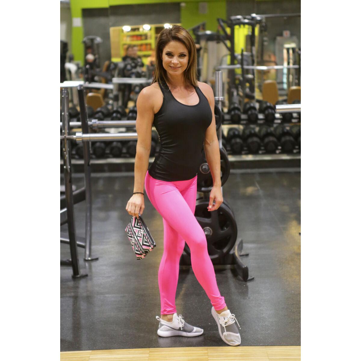 Pink basic női fitness sport leggings + fekete atléta szett