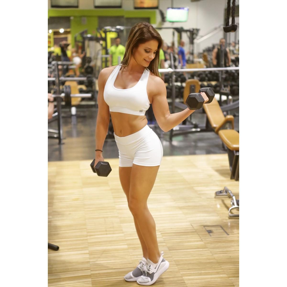 Fehér basic női fitness sport short + top szett
