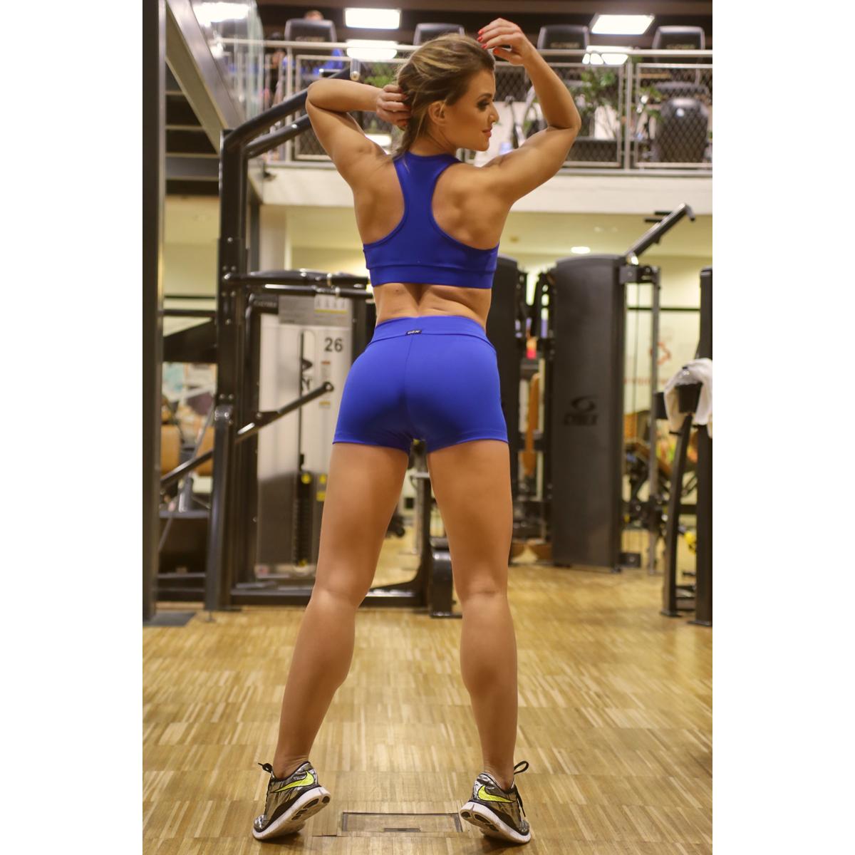 Királykék basic női fitness sport short + top szett
