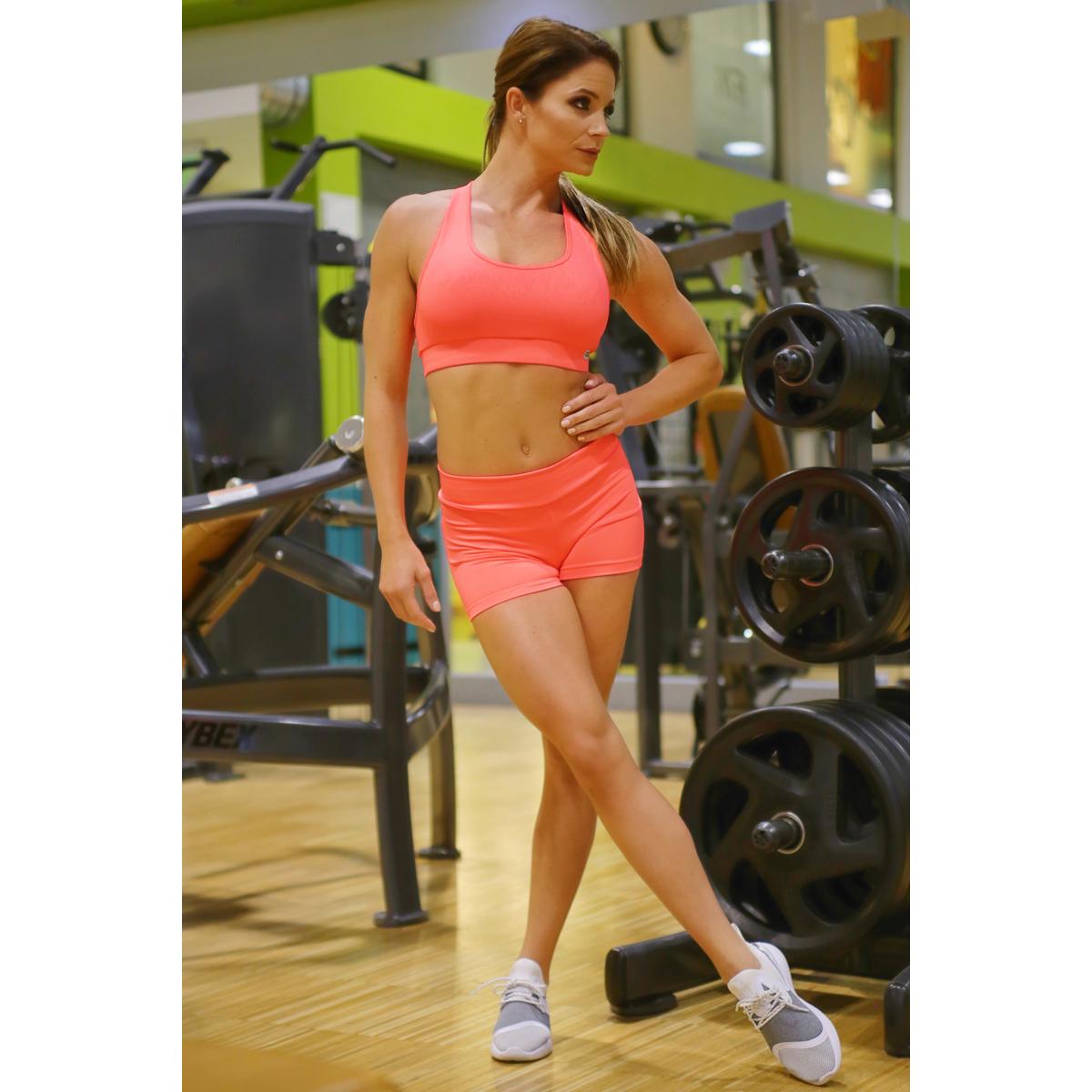 Neon korall (rio) basic női fitness sport short + top szett