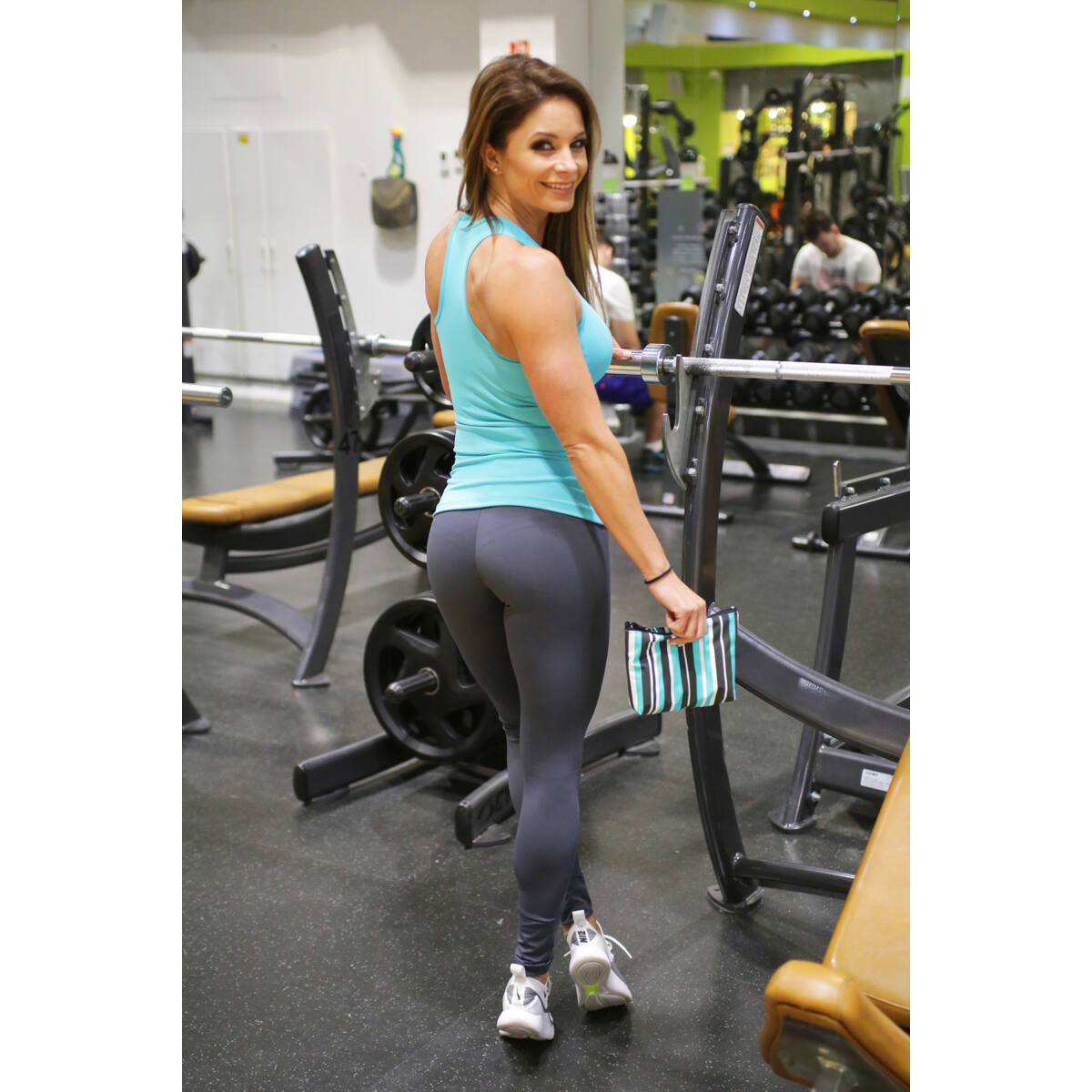 Szürke basic női fitness sport leggings + menta atléta szett