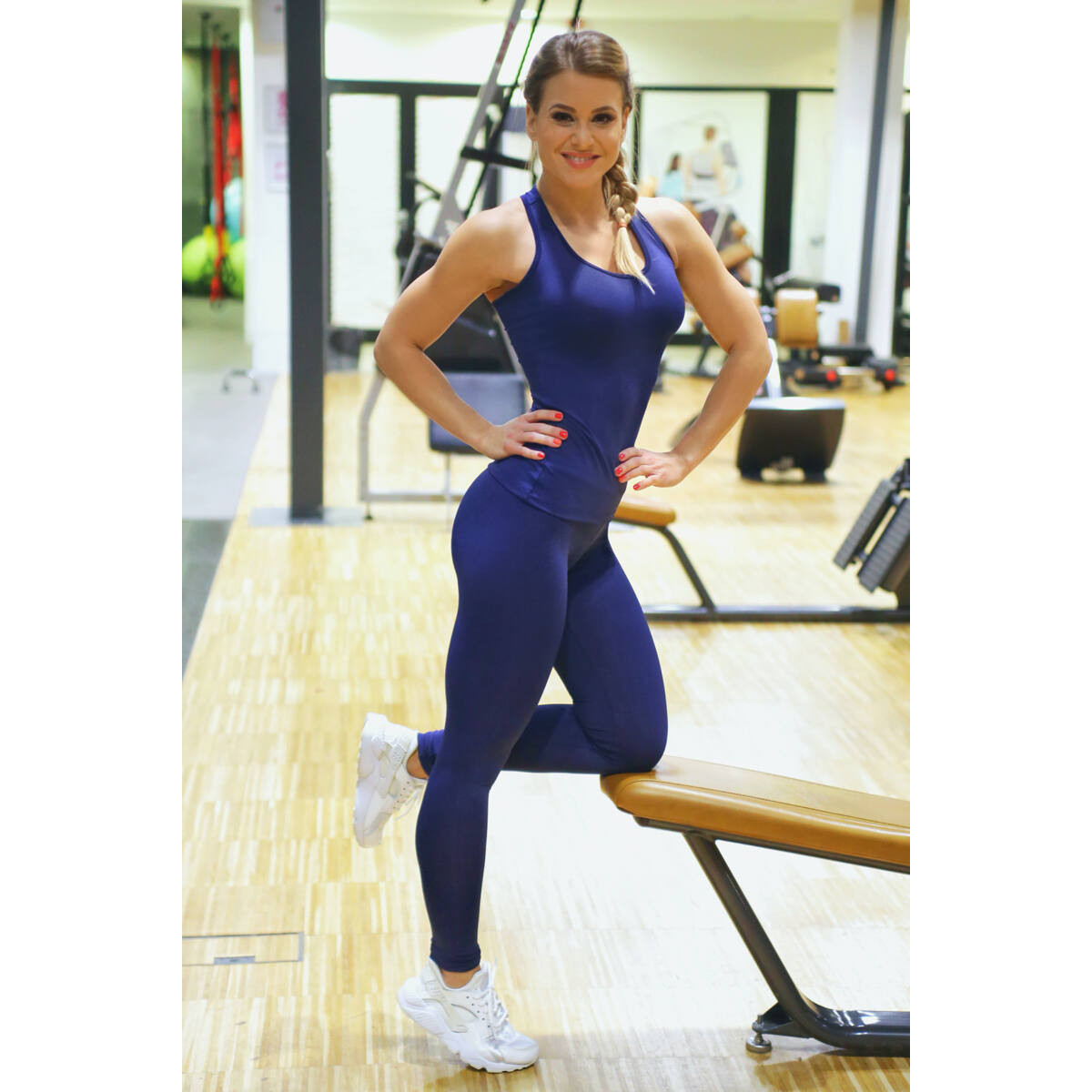 Sötétkék basic női fitness sport leggings + atléta szett