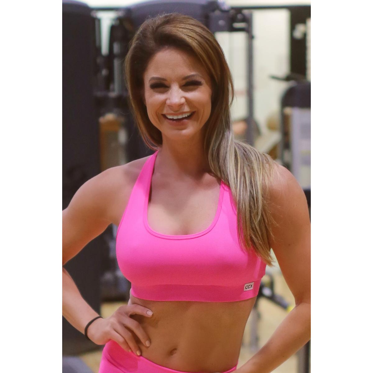 Pink basic női fitness sport top