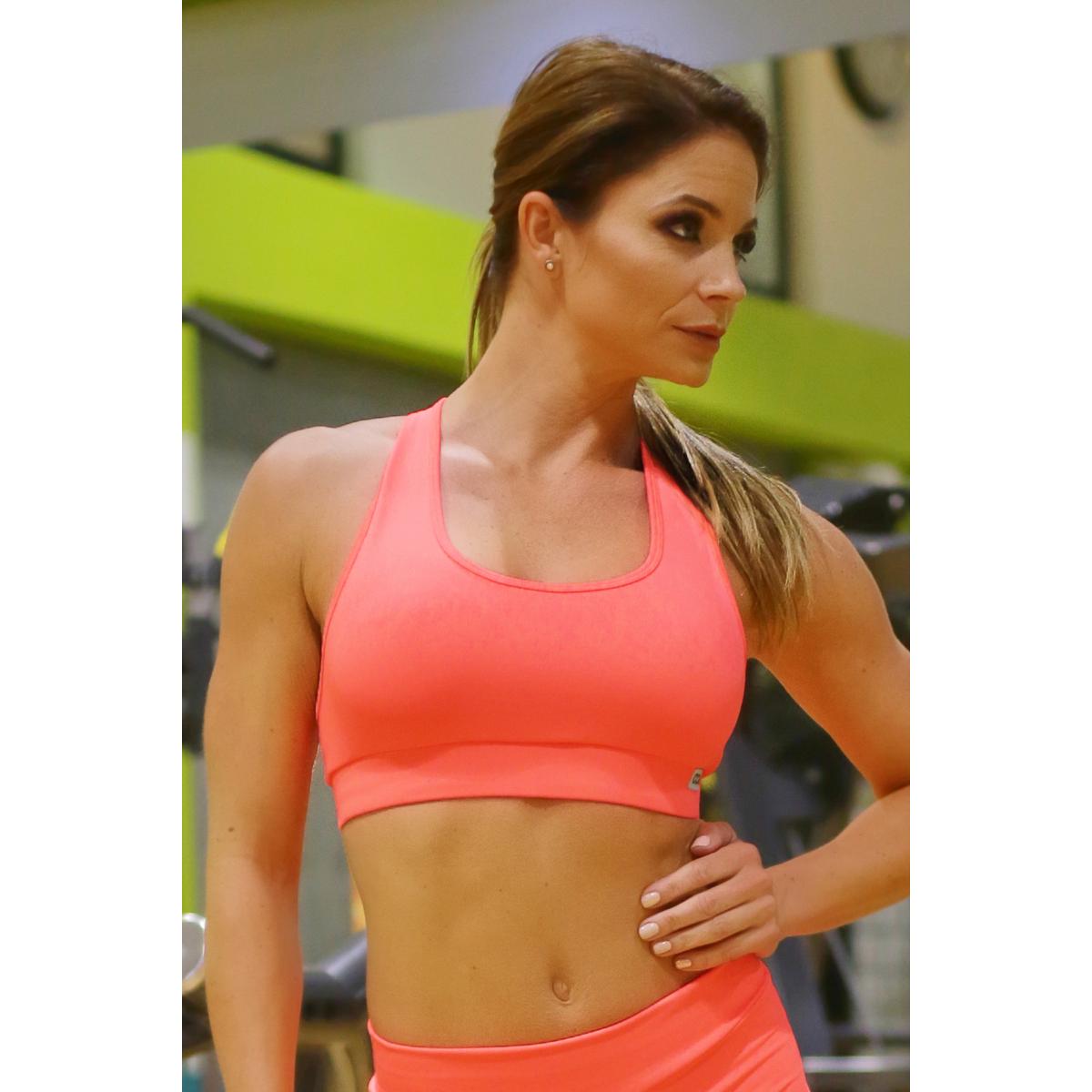 Neon korall (rio) basic női fitness sport top