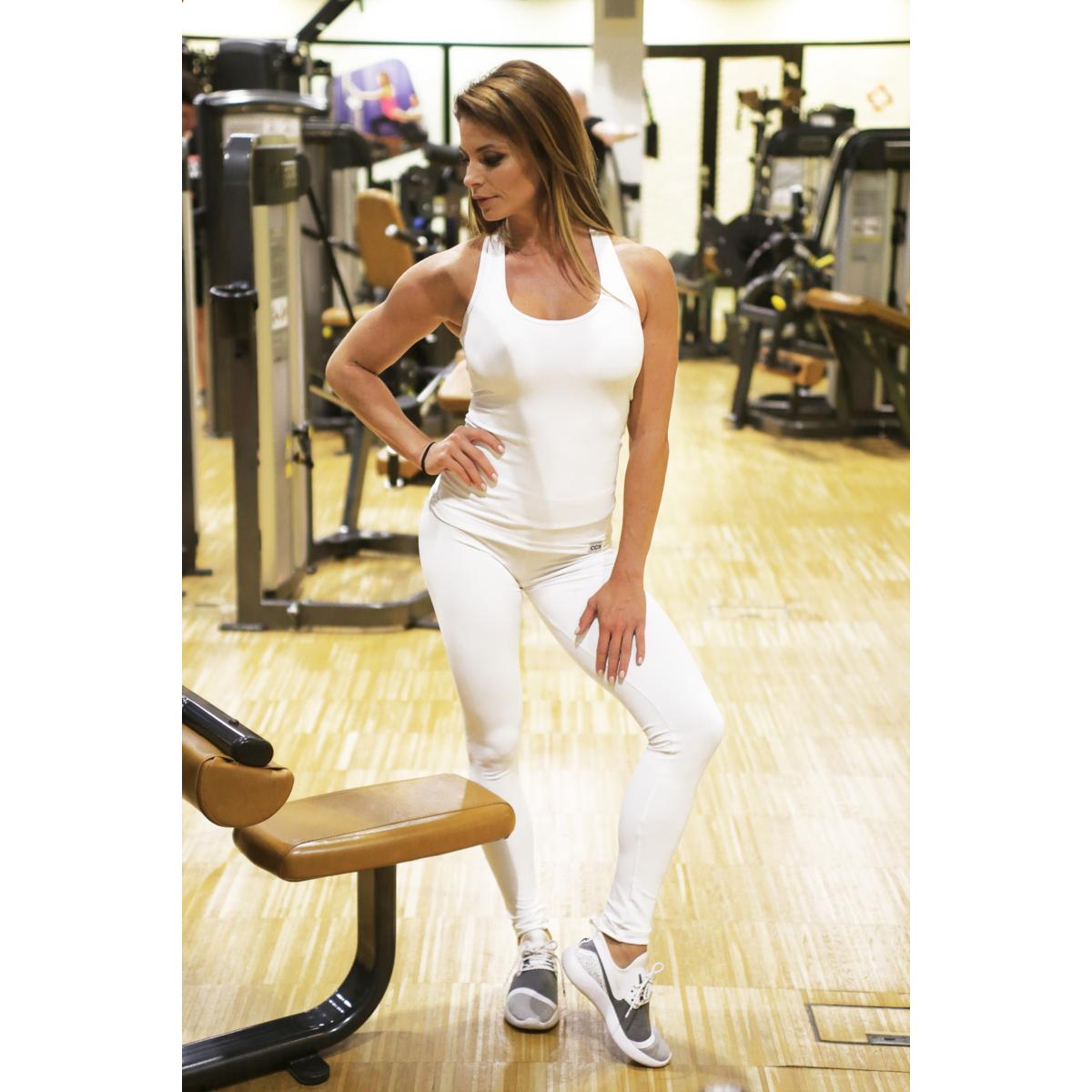 Fehér basic női fitness sport leggings + atléta szett