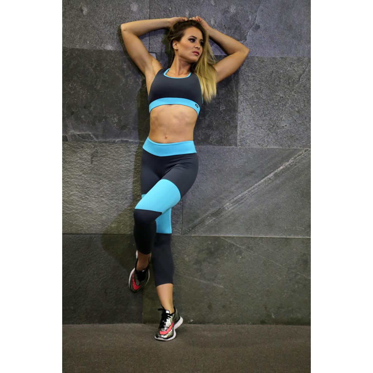 Szürke-menta basic női fitness capri, top szett