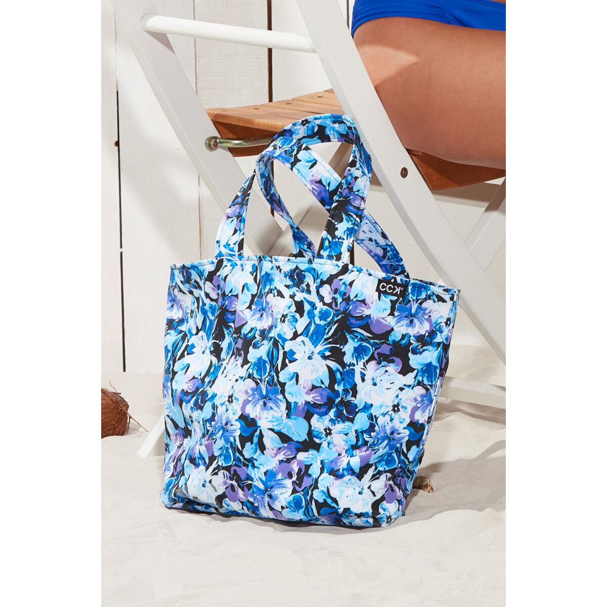 Kék virágmintás strandtáska