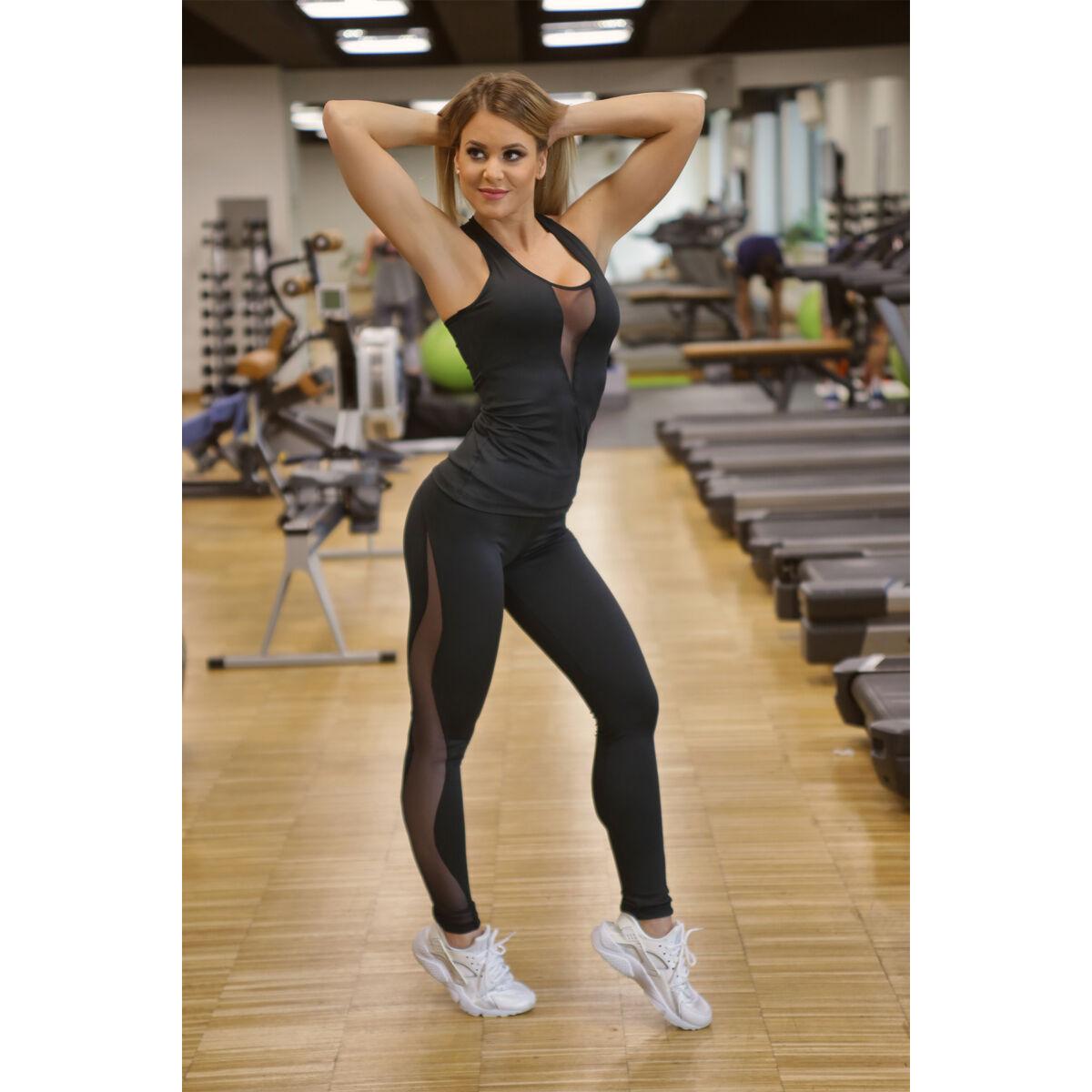 Női tüllbetétes láng fitness szett, fekete