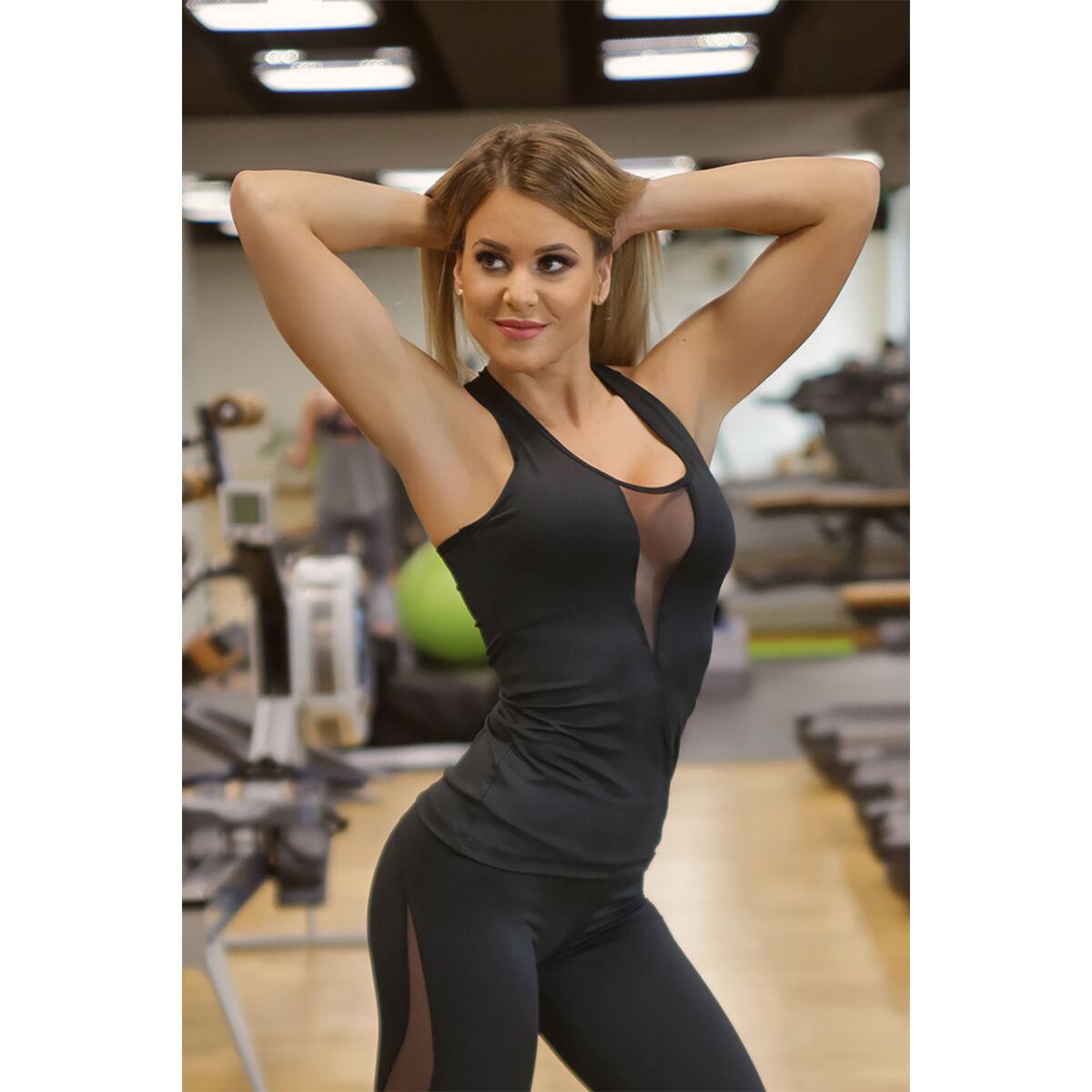 Flame női fitness tüll atléta, fekete