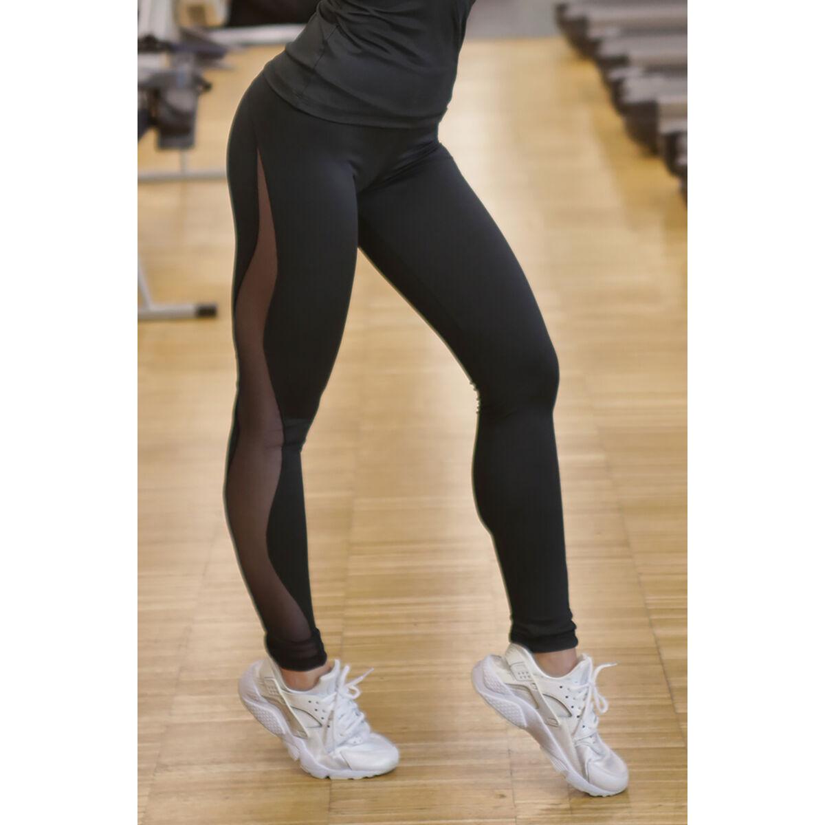 Női tüllbetétes láng fitness leggings, fekete