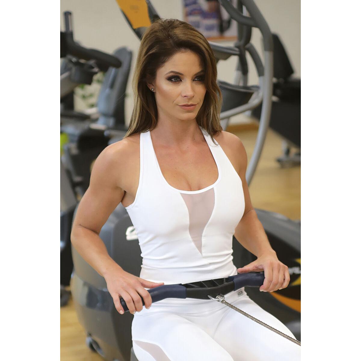 Női tüllbetétes láng fitness atléta, fehér