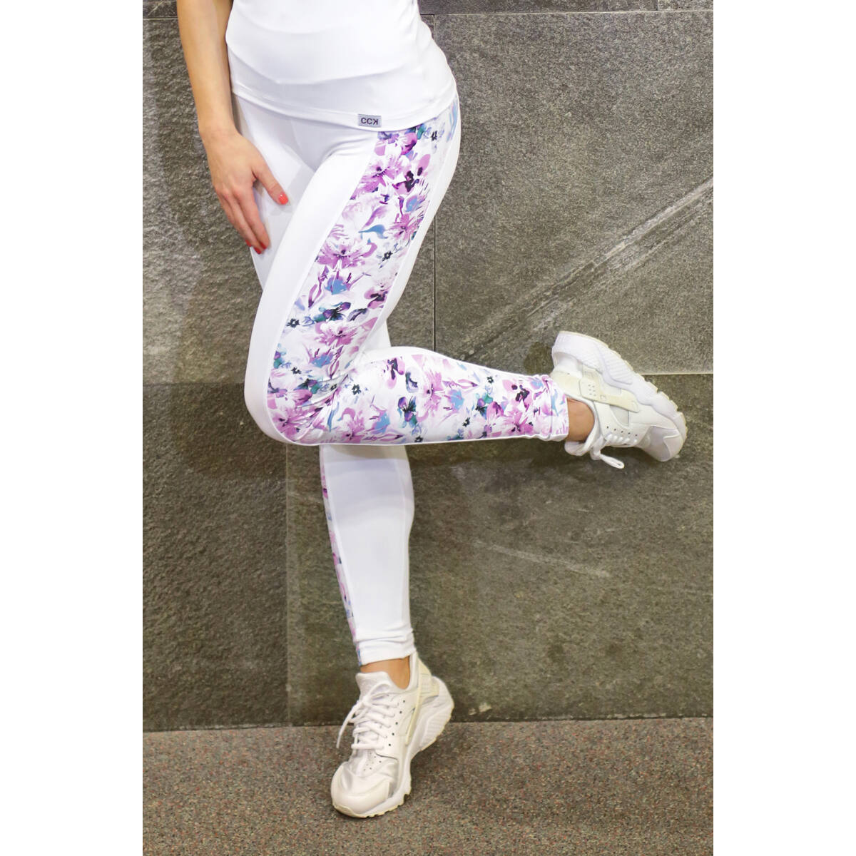 FLOWERS WAVE LEGGINGS, FEHÉR