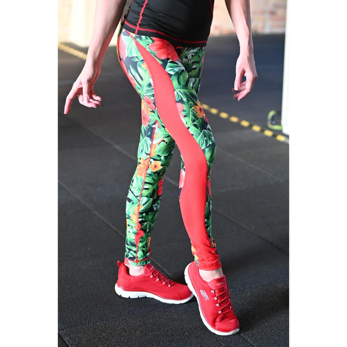 Női tüllbetétes láng fitness leggings, dzsungel-piros