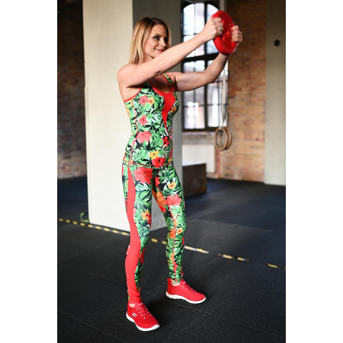 Női betétes láng fitness szett, dzsungel-piros