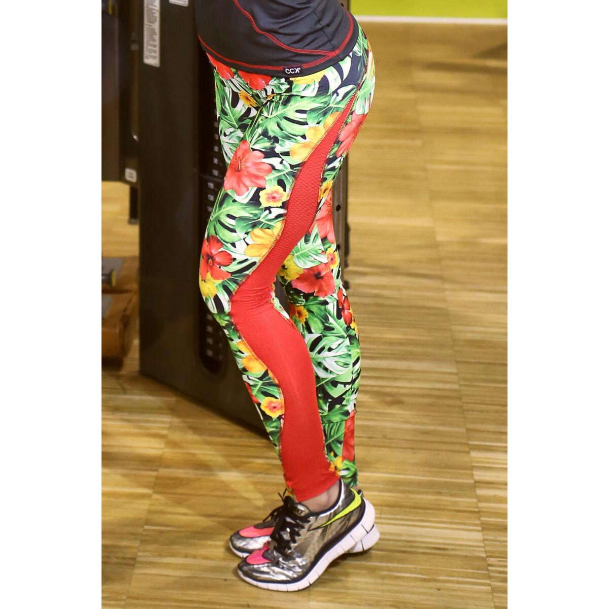 Flame női fitness tüll leggings, dzsungel-piros