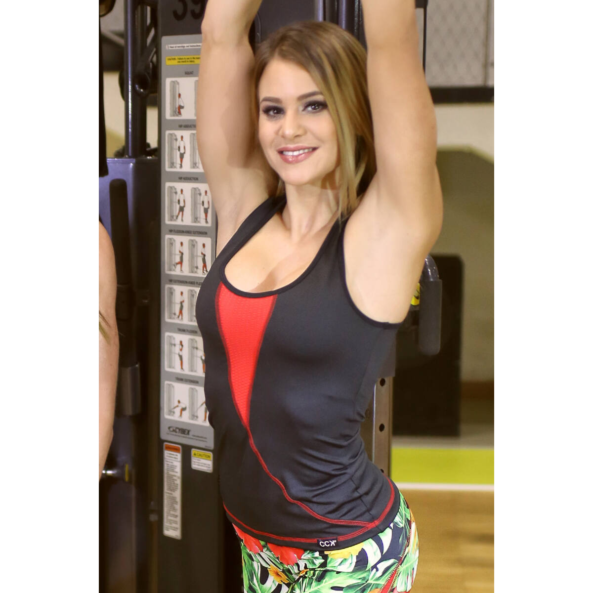 Női láng fitness atléta, fekete-piros