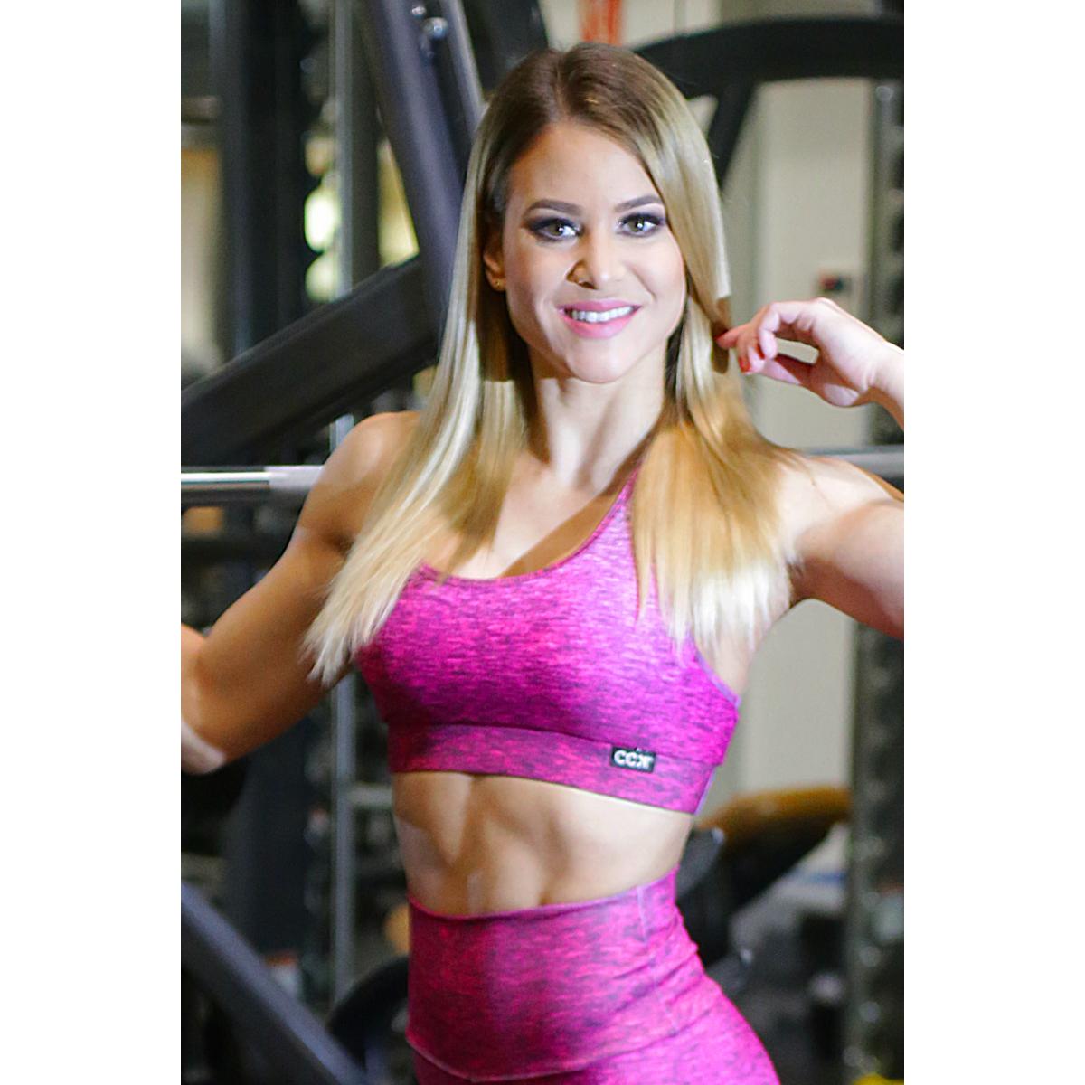 Melange magenta női fitnesz sport top