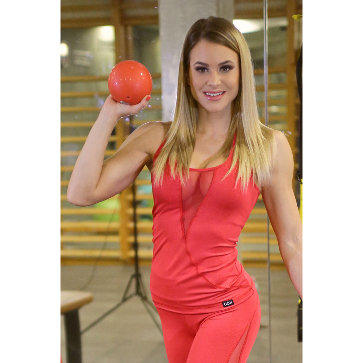 Női tüllbetétes láng fitness atléta, piros