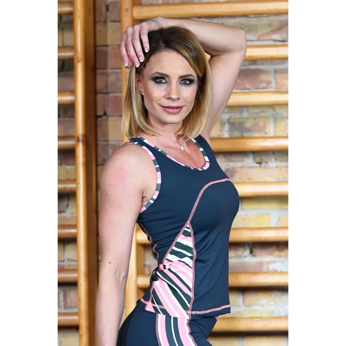 Szürke korall csíkos női fitness oldalbetétes atléta - CCK - COCKTAIL SPORT