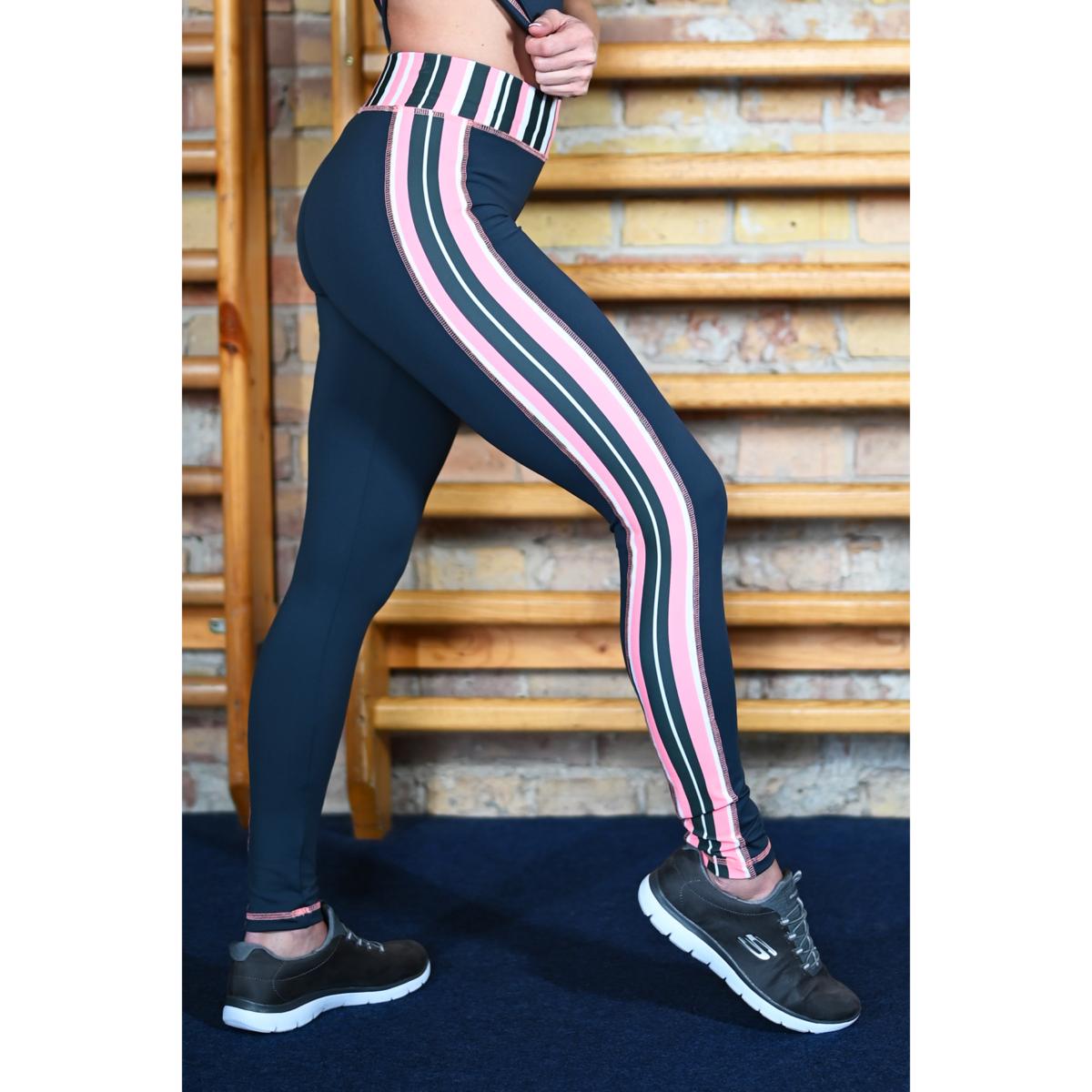 Csíkos szürke-korall női fitness boka nadrág - CCK - COCKTAIL SPORT