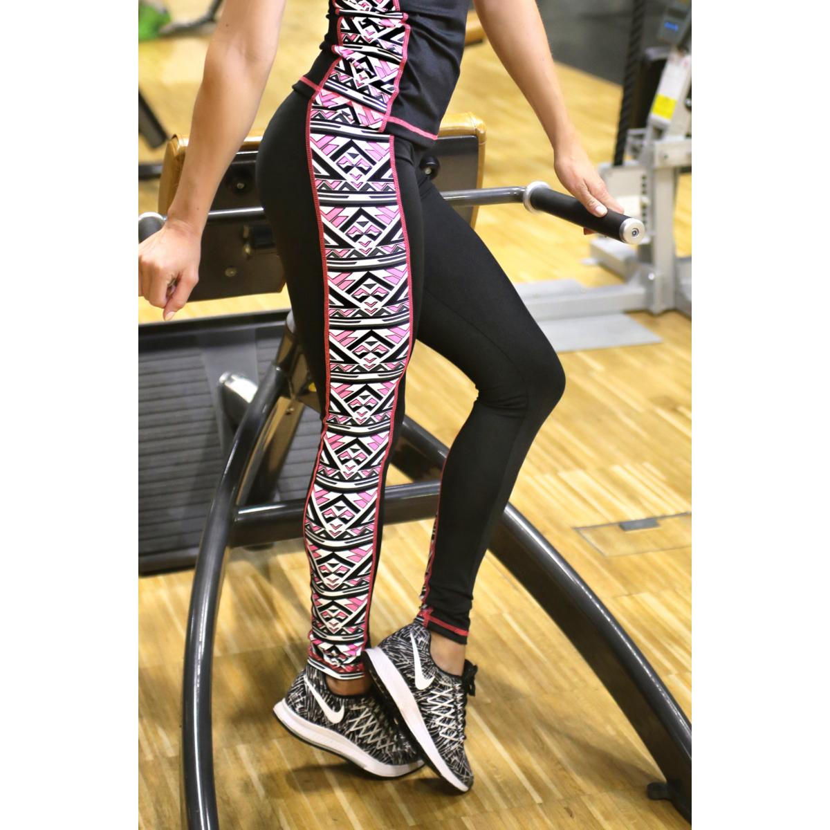 Azték pink mintás női fitness boka nadrág - CCK - COCKTAIL SPORT