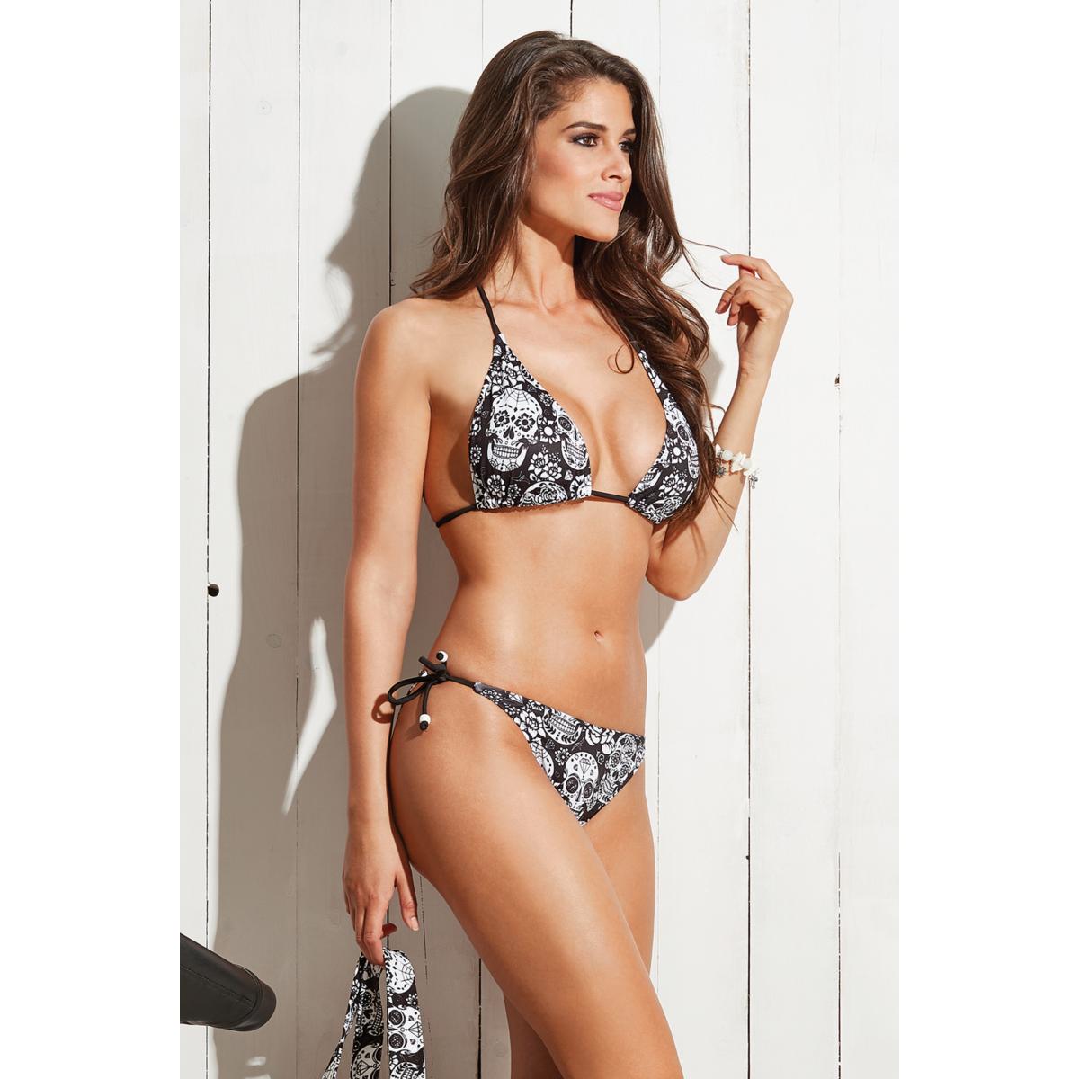 Koponya mintás, vékonypántos, kivehető szivacsos háromszög bikini