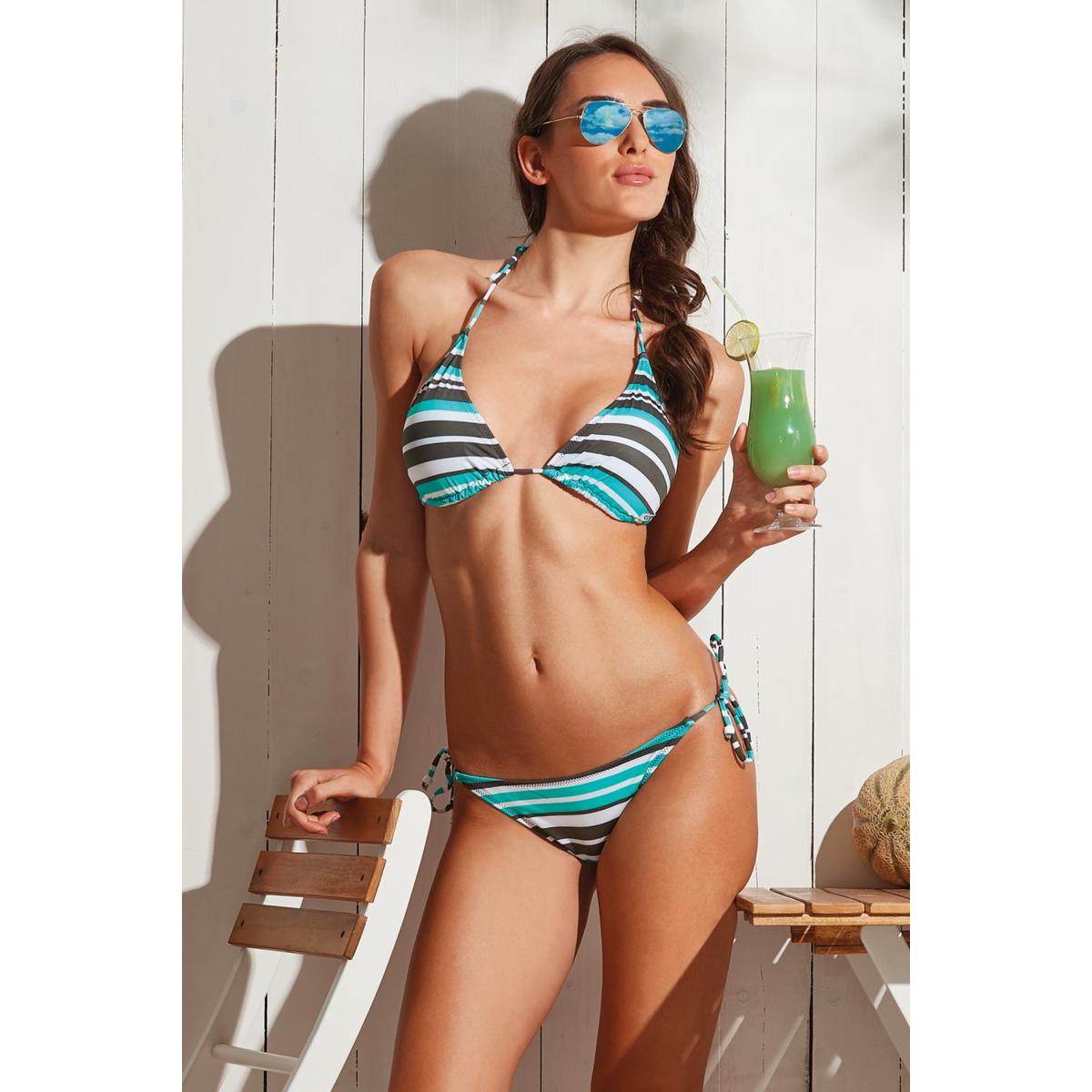 Szürke-menta-fehér csíkos, vékonypántos, kivehető szivacsos háromszög bikini