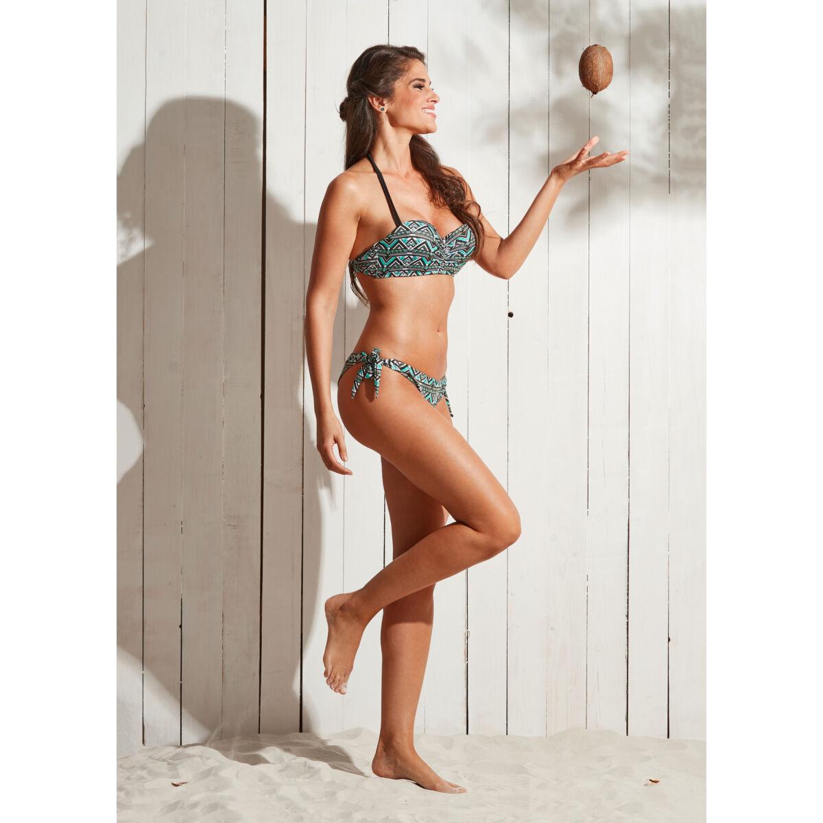 Fekete-menta azték mintás push up bandeau bikini